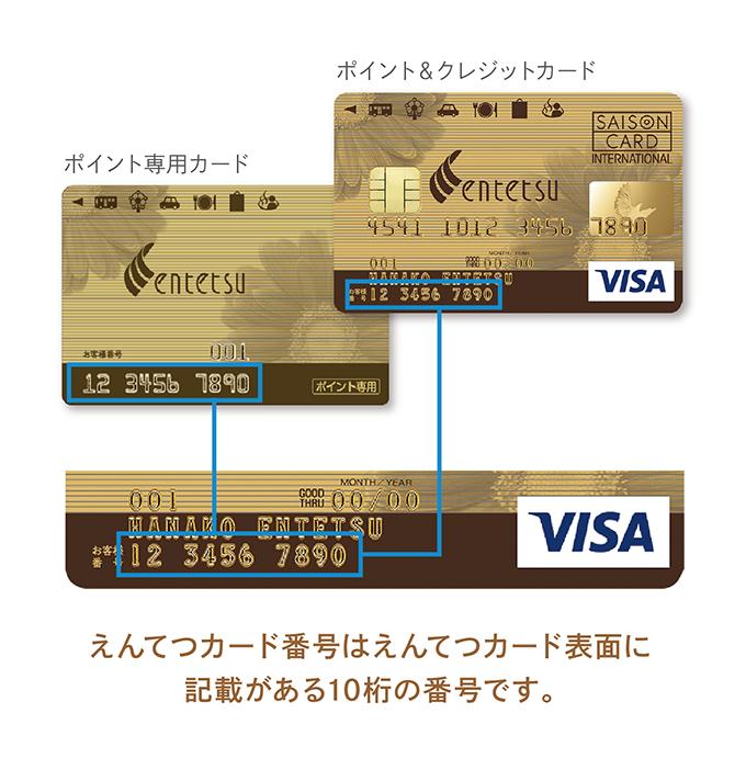 えんてつカード番号とは、カード表面に記載の10桁の番号です。